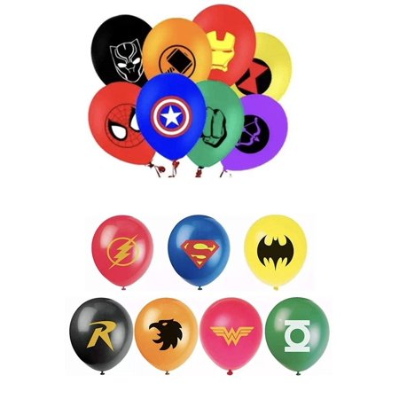 Superhero Balloon Bundle 15 piece Latex Avengers Justice League 12 inch With Jumbo Plastic Easter Egg