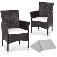 GHP 2-Pcs 220-Lbs Capacity Brown PE Rattan Wicker Dining Chairs with White Cushions
