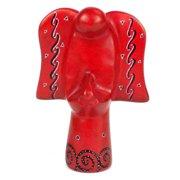 Global Crafts Handmade 5-inch Soapstone Angel Sculpture in Red (Kenya)