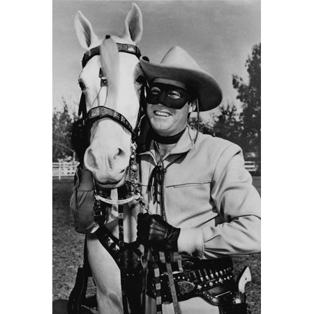 Clayton Moore in The Lone Ranger smiling in costume by Silver 24x36 Poster