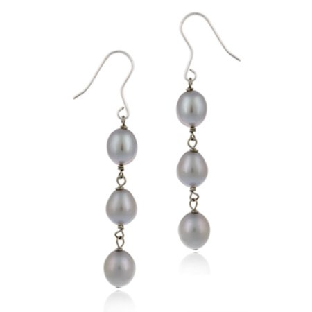 Sterling Silver Baroque Freshwater Cultured Gray Pearl Drop Earrings