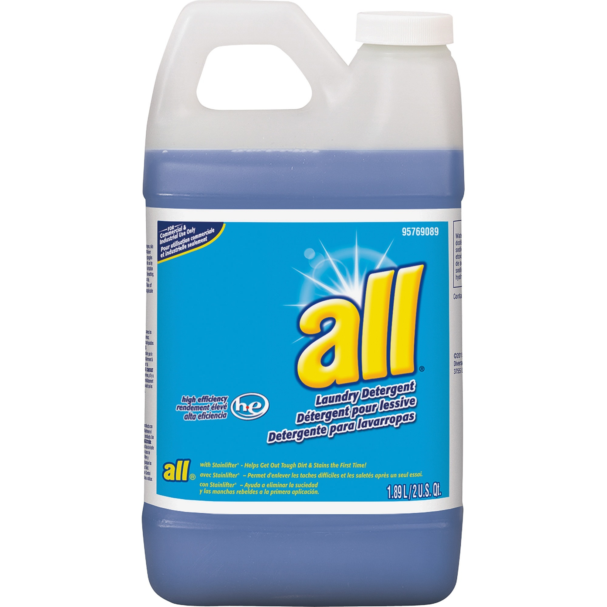 all, DVO95769089, Diversey All Concentrated Laundry Detergent, 4 / Carton, Blue
