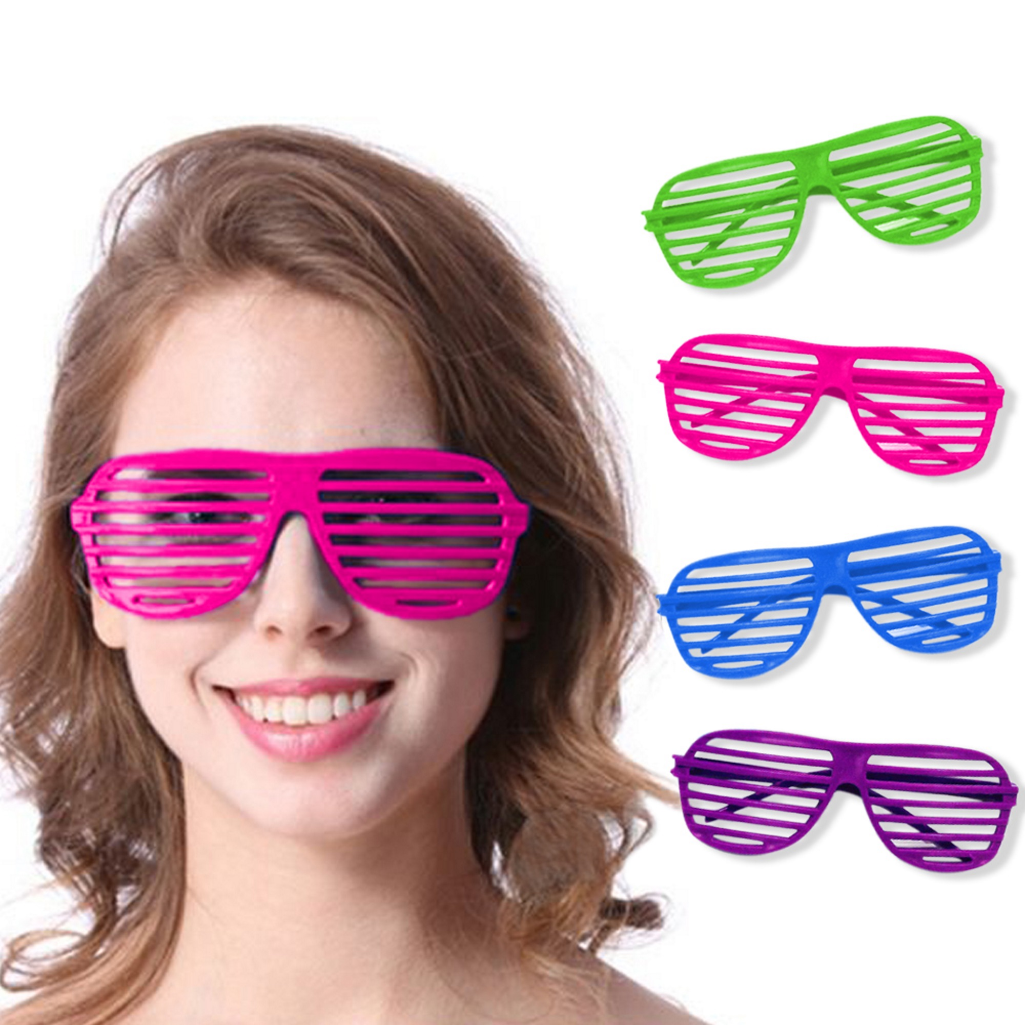 9eab012330a Novelty Place  Neon Color  80 s Party Shutter Glasses Slotted Shading Toy  Sunglasses for Kids  amp  Adults - 4 Colors (12 Pairs) - Walmart.com