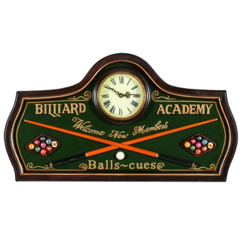 Wall Clock - Billiard Academy With Pub Style Sign