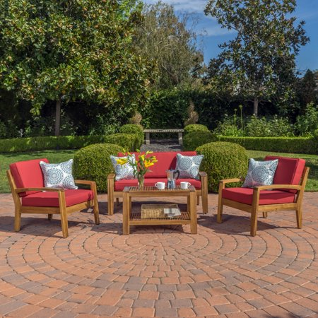 Parma 4 Piece Outdoor Wood Patio Furniture Chat Set with Water Resistant Cushions, Red ()