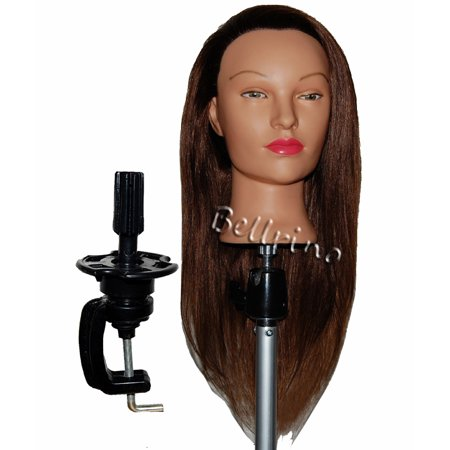 Bellrino 24   Cosmetology Mannequin Manikin Training Head With Human Hair   Daisy  Clamp Holder Included