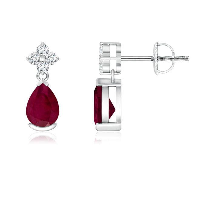 Angara Platinum Pear Shaped Ruby Earrings - July Birthstone Earrings VfYkHbDN