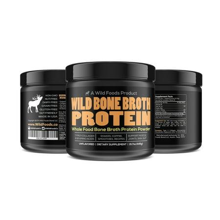 Wild Bone Broth Protein | Gut-Friendly, Non-GMO, Dairy-Free Protein Powder - TWO 16oz (Best Non Dairy Protein Powder)