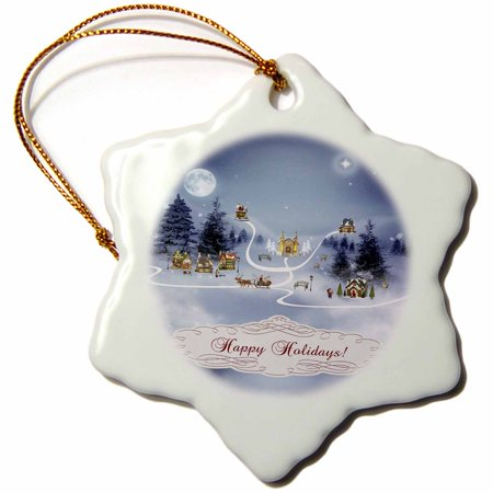 3dRose Christmas Village, Happy Holidays - Snowflake Ornament, 3-inch ()