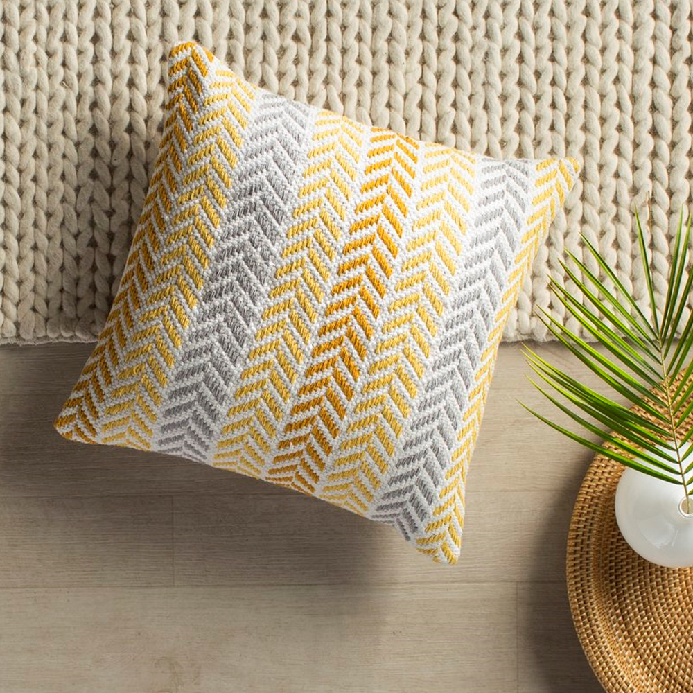 "LR Home Chevron Stripes Yellow Mustard 18"" x 18"" Indoor Square Altair Sunny Day Decorative Throw Pillow"