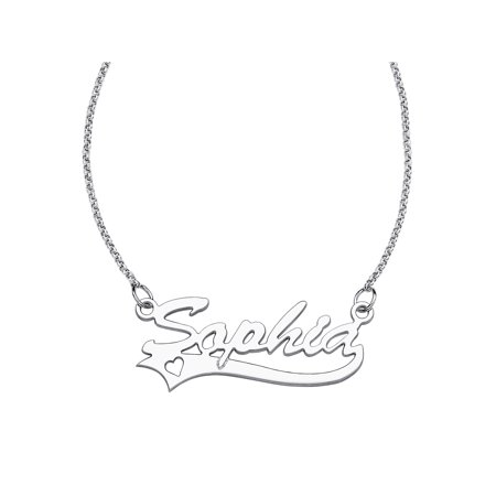 Sterling Silver Name Necklace - Personalized Script Name with Heart Sterling Silver Necklace