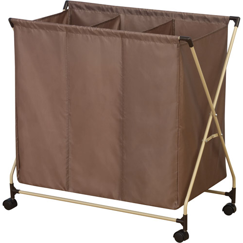 Household Essentials Rolling Triple Sorter Laundry Hamper with Mocha Polyester Bag, Almond Finish