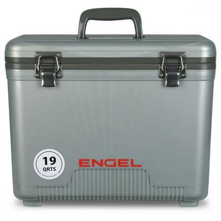 Engel 19 Quart Lightweight Bait Dry Box Ice Cooler with Shoulder Strap, Silver