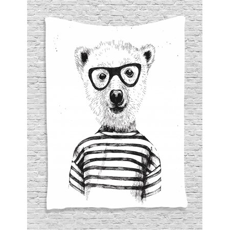 Animal Tapestry, Dressed Up Hipster Nerd Smart Male Bear in Glasses Fun Character Animal Art Print, Wall Hanging for Bedroom Living Room Dorm Decor, Black White, by Ambesonne](Fun Movie Characters To Dress Up As)