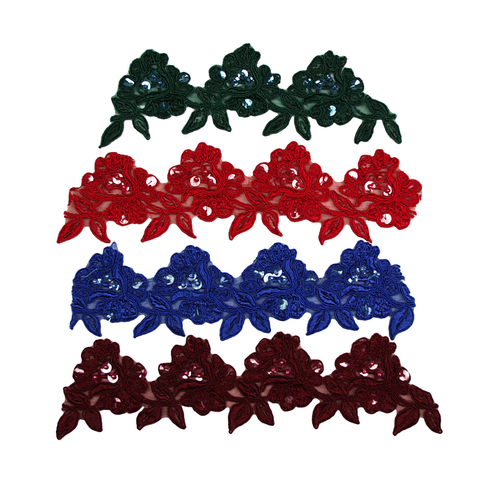 """3.5"""" Red Burgundy White Ivory Yellow Sage Lavender Blue Beaded Lace Trim by Yard"""