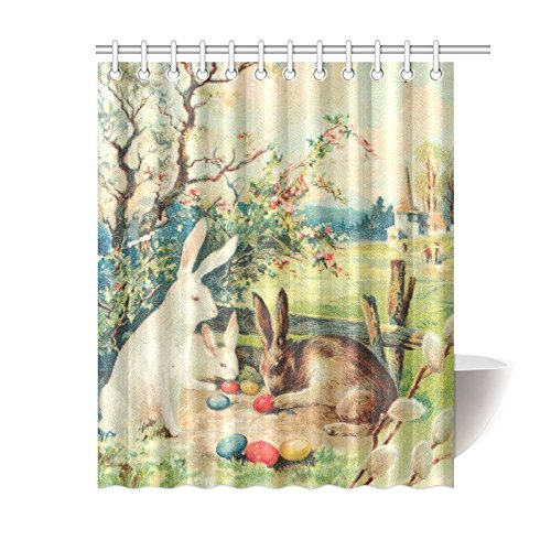 GCKG Vintage Hares Rabbit Shower Curtain Easter Bunnies Eggs Polyester Fabric Bathroom Sets With Hooks 60x72 Inches