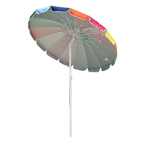 Yescom Rainbow Beach Patio Umbrella w/ Metal Frame 16 Rib Tilt Market Table Umbrella Outdoor Sunshade Cover Sand Anchor