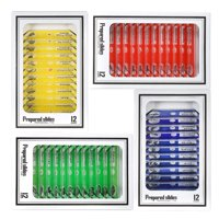 48pcs/set Plastic Prepared Microscope Slides Animals Insects Plants Sample Specimens Slides Set with Color Labels for Kids Students