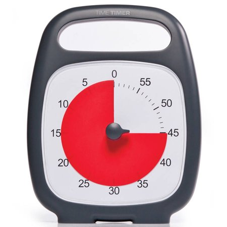 Time Timer Plus with On-the-Go Carry Handle, Charcoal Elapsed Time Timer