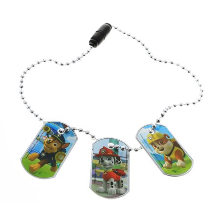 Licensed Kids 3pc Interchangeable Dog Tag Necklace Jewelry (Many Characters) - Teenage Princesses