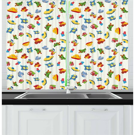 Kids Curtains 2 Panels Set, Airplane Boat Ship Helicopter Submarine Car Truck Van Boys Cartoon Transportation, Window Drapes for Living Room Bedroom, 55W X 39L Inches, Multicolor, by Ambesonne (Airplane Ship)