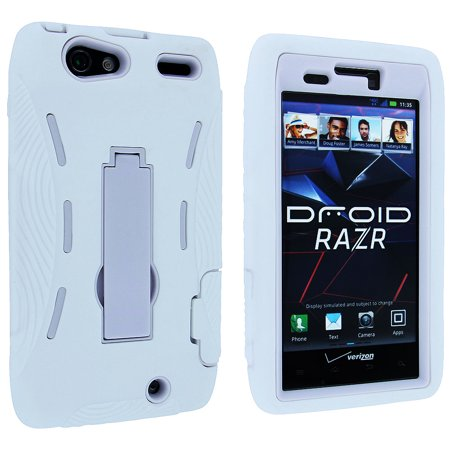 White Hybrid Case Cover with Kick Stand for Motorola Droid Razr