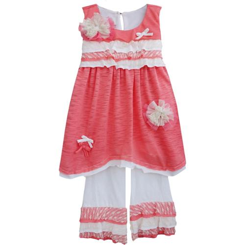 Isobella & Chloe Baby Girls Coral Carnation Kisses Two Piece Pant Set 12M