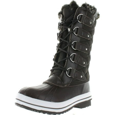 Waxy Calf Footwear (Refresh Wind-02 Women's Lace Up Waterproof Quilted Mid Calf Weather Snow Boots)