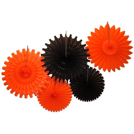 Devra Party Black and Orange Large Tissue Paper Fan Decorations, 13 and 18 Inches (5 Piece) (Party Fans)