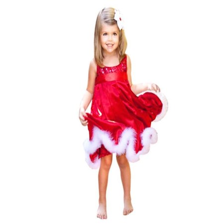 Baby Party Dresses Clearance (Iuhan Baby Girls Kids Christmas Party Red Paillette Tutu Dresses Xmas Gift)