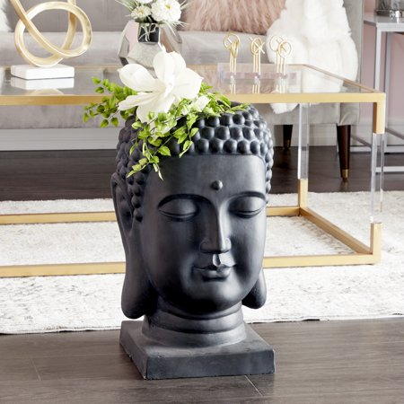 "CosmoLiving Extra Large Black Buddha Statue Indoor & Outdoor Planter | 14"" x 24"""