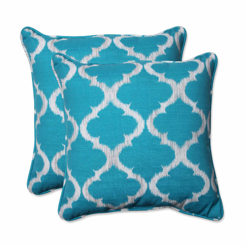 Pillow Perfect Outdoor  Indoor Kobette Teal 18.5-inch Throw Pillow (Set of 2) by Overstock