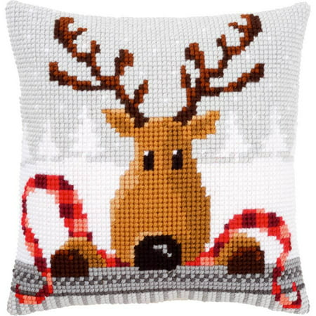 Reindeer with A Red Scarf I Cushion Cross Stitch Kit, 16