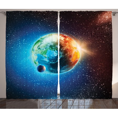 Outer Space Decor Curtains 2 Panels Set, Planet Earth In Sun Rays Elements Astronomy Atmosphere Sky Satellite Moon Lunar Image, Living Room Bedroom Accessories, By Ambesonne - Outer Space Decor