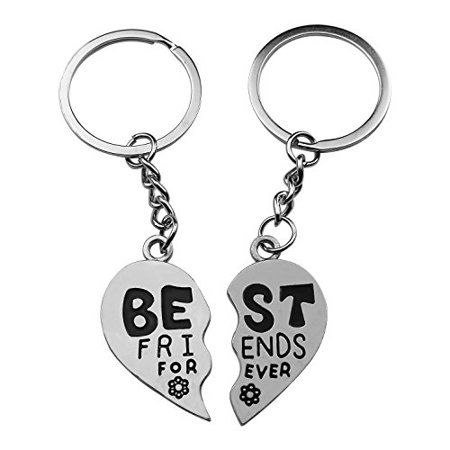 Art Attack Silvertone Best Friends Forever BFF Floral Flower Metal Keychain Pendant