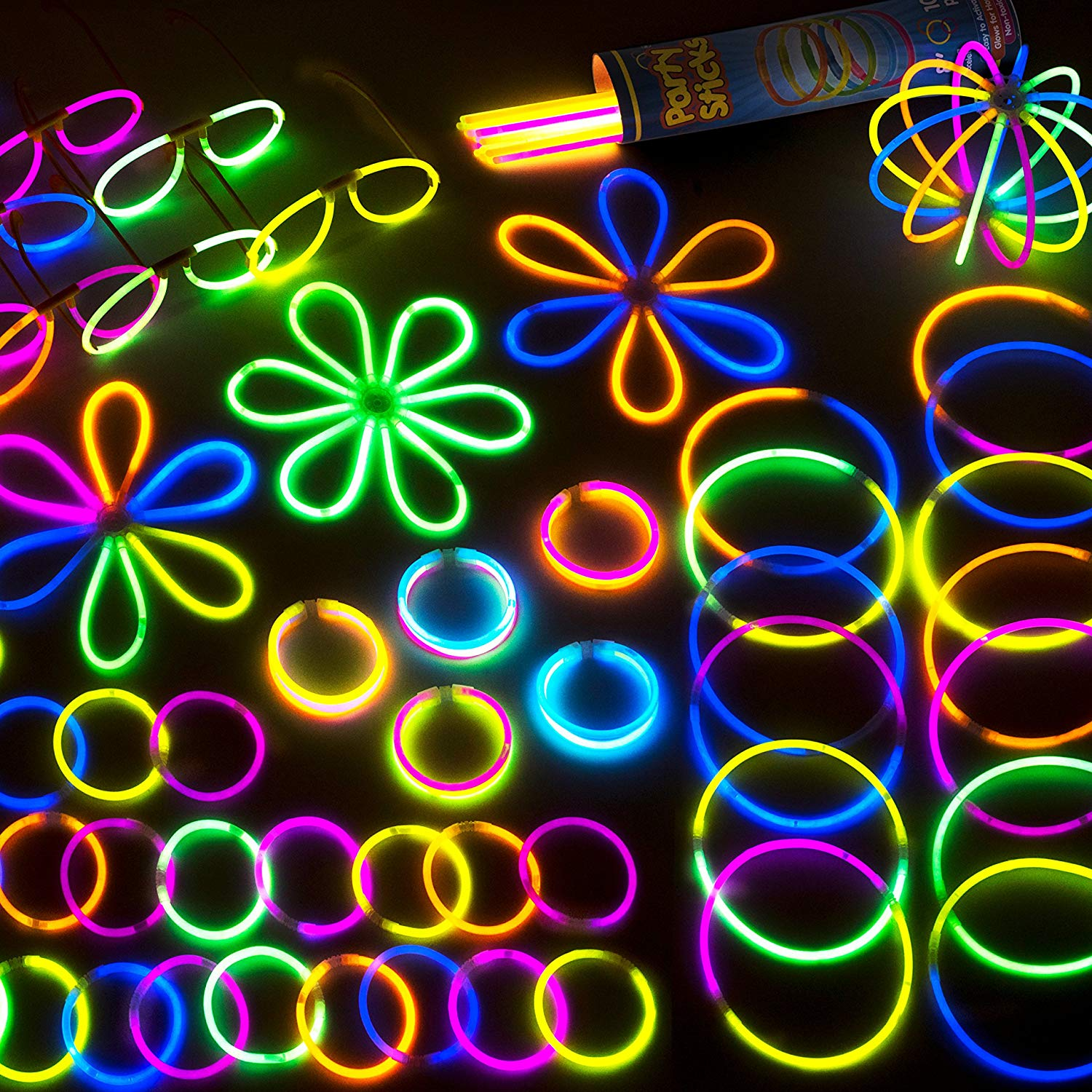 100 Glow Stick Party Pack - 100 Mixed Color 8 Premium Glowsticks with Connectors to Make Bracelets, Glasses, Flowers, Balls and More - Bulk Wholesale Pack