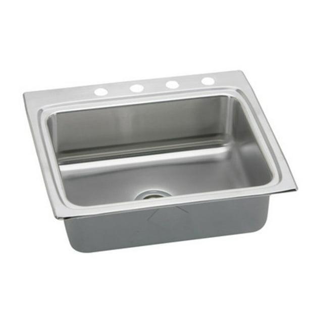 Elkay Lrad252245 Gourmet 25 Single Basin 18 Gauge Stainless Steel Kitchen Sink For Drop Walmart Com Walmart Com