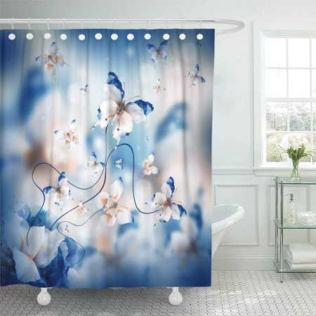 KSADK Blue Beauty Amazing Butterfly Fairy of Flowers Hydrangeas and Iris Green Blossom Shower Curtain Bathroom Curtain 60x72 inch