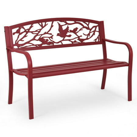 Costway Patio Garden Bench Park Yard Outdoor Furniture Cast Iron Porch Chair Red ()