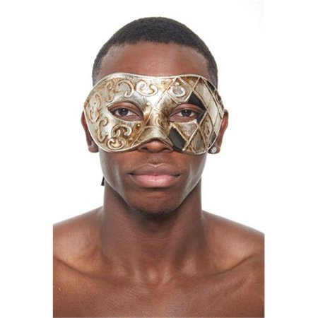 Kayso PM013A Silver Venetian Masquerade Mask with Silver & Black Checkered Design for $<!---->