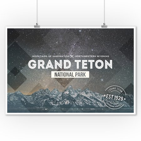 Grand Teton National Park, Wyoming - Milky Way Rubber Stamp - Lantern Press Photography (9x12 Art Print, Wall Decor Travel