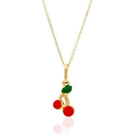 14k Yellow Gold Red Enamel Cherry Kid's Pendant Cable Chain Necklace 16