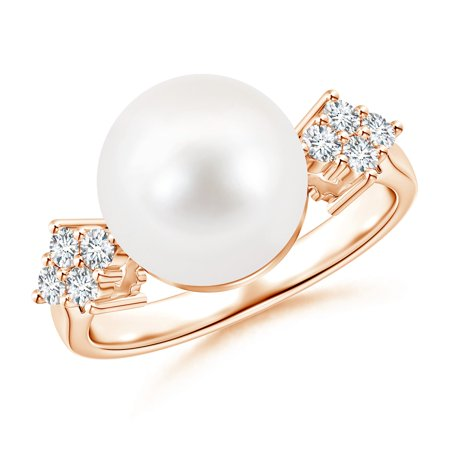 0c841f389d408 Angara - June Birthstone - Solitaire FreshWater Cultured Pearl Ring with  Cluster Diamond Accents in 14K Rose Gold (10mm Freshwater Cultured Pearl) -  ...