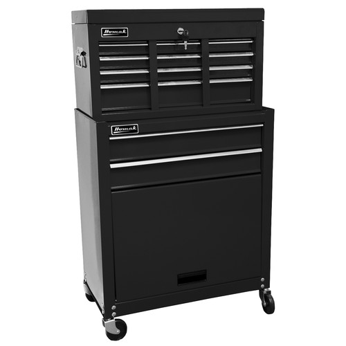 Homak BK07062400 24 in. Combo Top Chest/Roller Cabinet (Black)