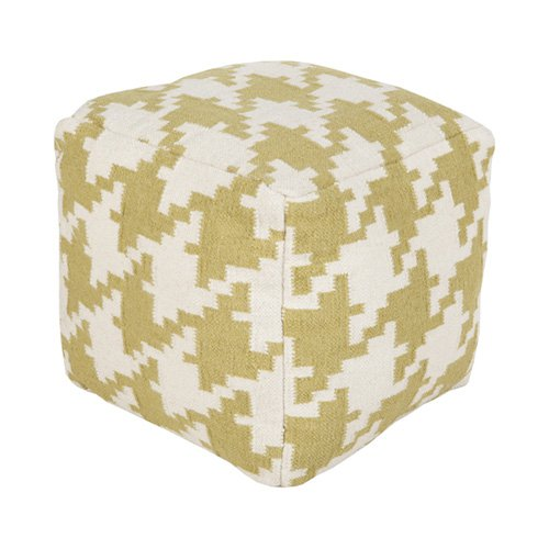 Surya 18 in. Houndstooth Cube Wool Pouf by Surya Rug