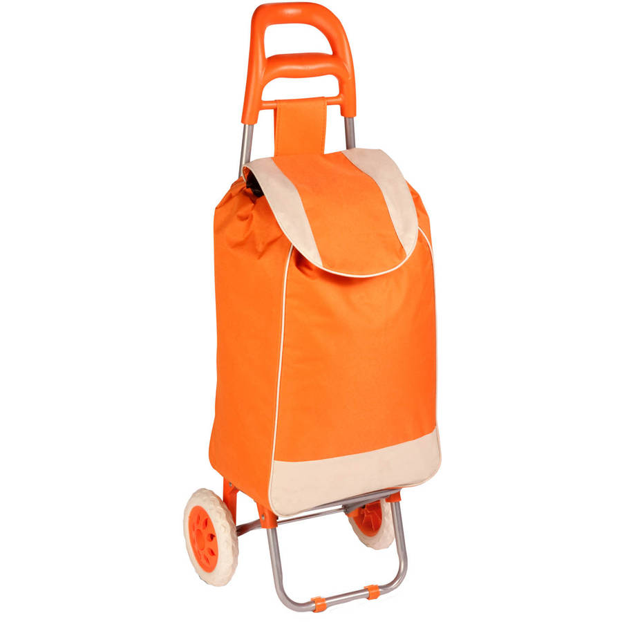 Honey Can Do Fabric Bag Rolling Cart with Ergonomic Handle, Orange/Beige