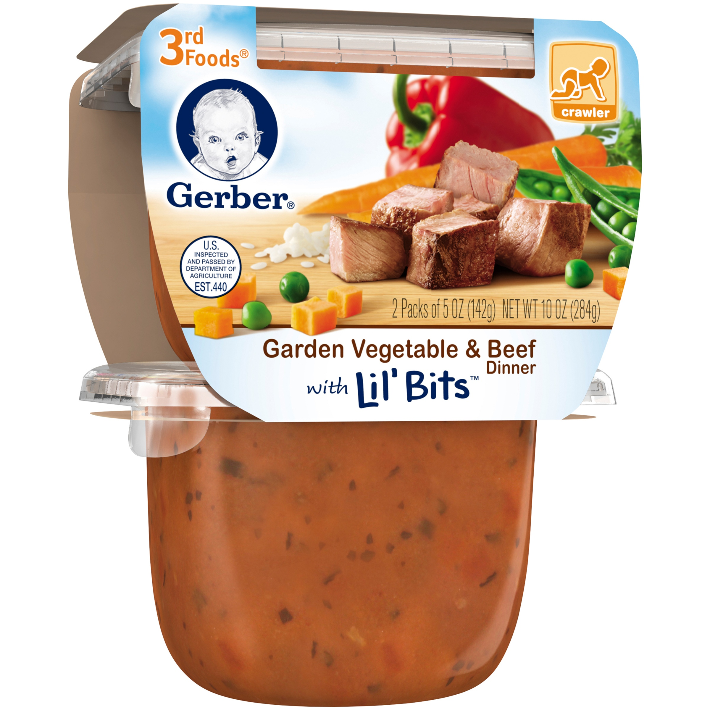 Gerber® 3rd Foods® Garden Vegetable & Beef Dinner with Lil' Bits™ Pureed Dinner, 5 oz, 2 count