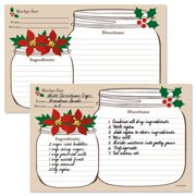 Christmas Mason Jar Recipe Cards- 4'' x 6'' (set of 48)