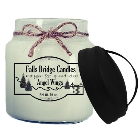 (Angel Wings Scented Jar Candle, Medium 16-Ounce Soy Blend, Falls Bridge Candles)