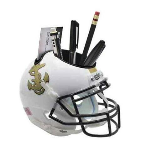Athlon CTBL-017258 Navy Midshipmen White NCAA Football Schutt Mini Helmet Desk Caddy